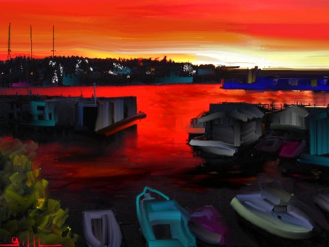 Lake Union Red Sky - GallaherGallery.com