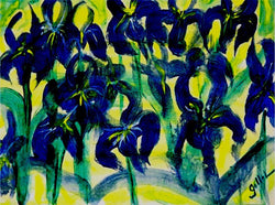 Blue Irises Oil - Greeting Card - GallaherGallery.com