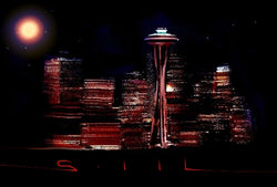 Space Needle Lights - Greeting Card - GallaherGallery.com