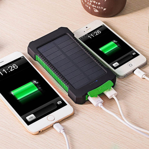 Water-Resistant Solar Powered Power Bank 10000mAh Dual USB Port Emergency LED Light