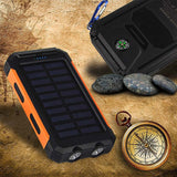 NEW Waterproof Solar Charged Power Bank 10000mah Dual USB Charger