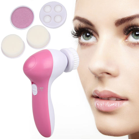 5 IN 1 ELECTRIC FACIAL BRUSH MASSAGER FOR DEEP PORE CLEANSING