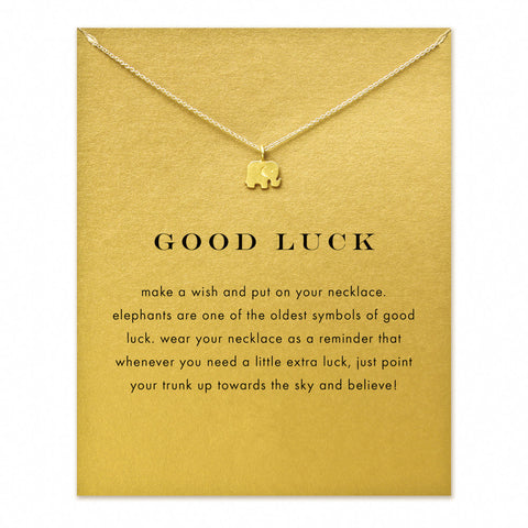 MAKE-A-WISH NECKLACE: Lucky Elephant Pendant Necklace With Card! BRINGS GOOD LUCK!