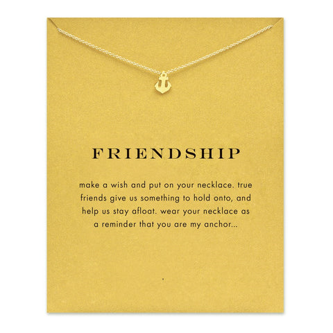 MAKE-A-WISH NECKLACE: Friendship Anchor Pendant Necklace With Card