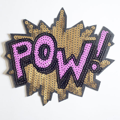 PC2154B - Sequin Pow! Text Effect S (Iron On)