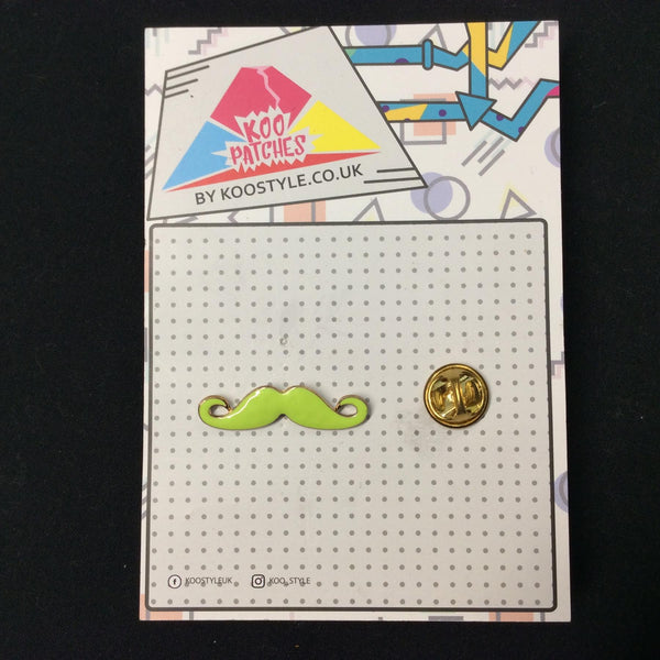 MP0169 - Lime Green Moustache Metal Pin Badge