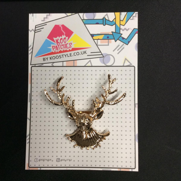 MP0212 - Gold Deer Head Reindeer Moose Metal Pin Badge