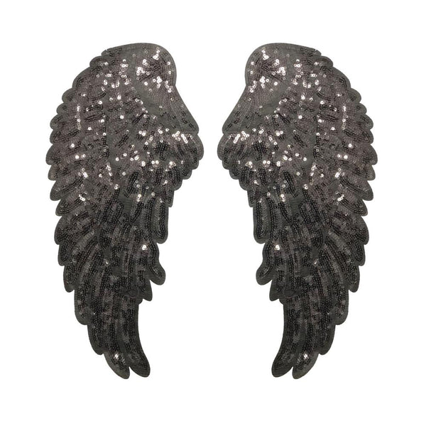 PC3100I - Super Sequin Black Wings XXL (Iron On)