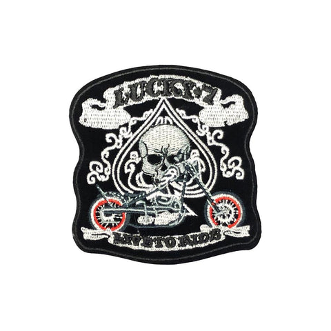 PC4189 - Lucky 7 Biker Skull Live To Ride (Iron On)