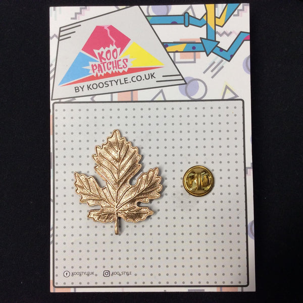 MP0006 - Gold Autumn Leaf Metal Pin Badge