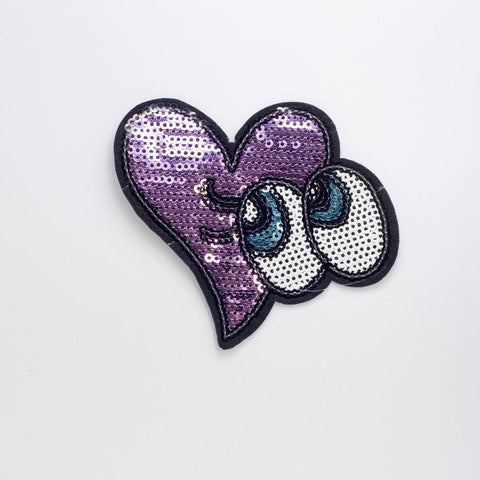 PC2243 - Sequin Heart Eyes (Iron On)
