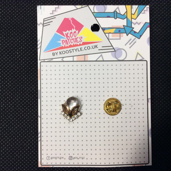 MP0138 - Gold Stone Gem Metal Pin Badge
