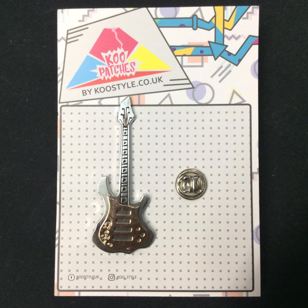 MP0245 - Silver Electric Musical Guitar Metal Pin Badge