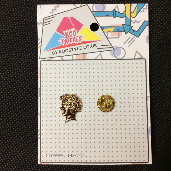 MP0158 - Gold Head Bust Metal Pin Badge