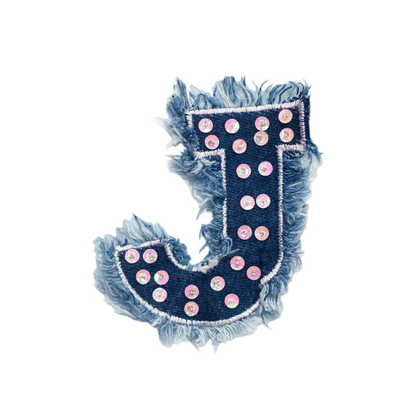 PT552 - Denim J letter (Sew on)