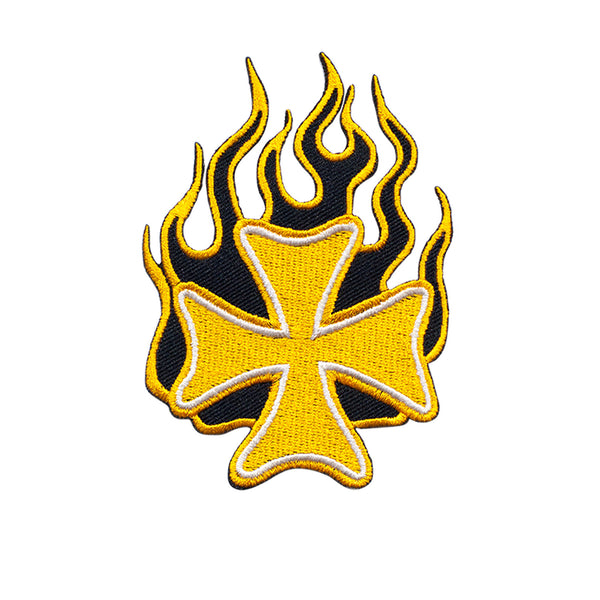 PT509 - Yellow Fire Cross (Iron on)
