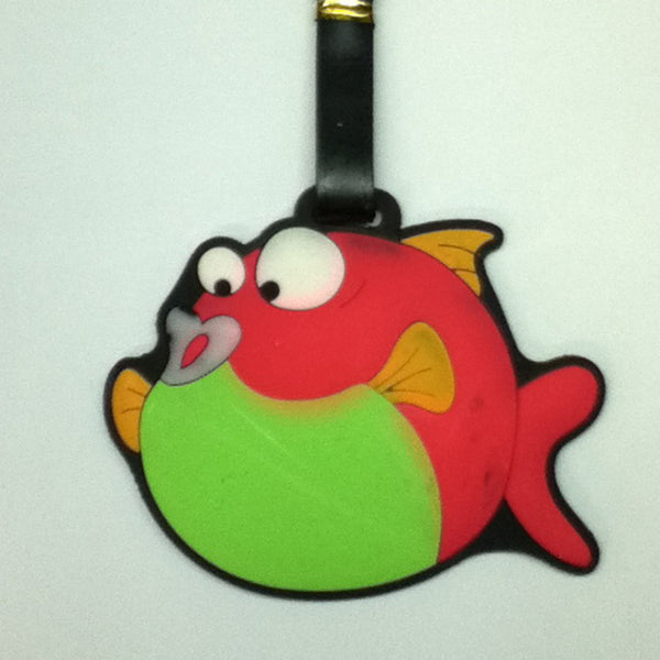 L00366 - Green Red Fish Luggage Tag