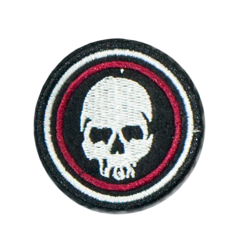 PH130 - Red Round Skull Black Background (Iron on)
