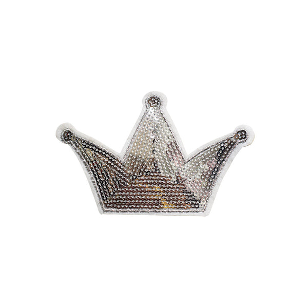 PT466 - Sequin Silver Crown (Iron on)