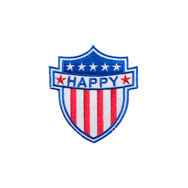 PT470 - Happy USA Badge (Iron on)