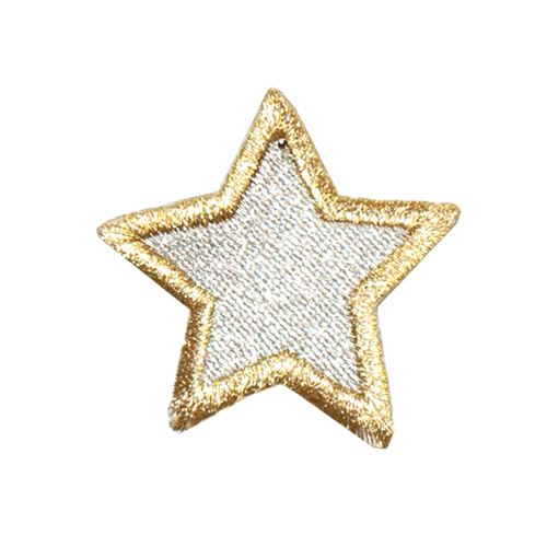 PH141 - Silver Star Golden Border (Iron on)