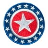 PH158 - Red Blue Round Star Badge (Iron on)