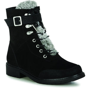 EMU Australia Waldron black sheepskin boots with laces and buckle with zip for easier fitting