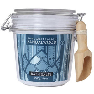 sandalwood bath salts 500g jar with wooden scoop spoon