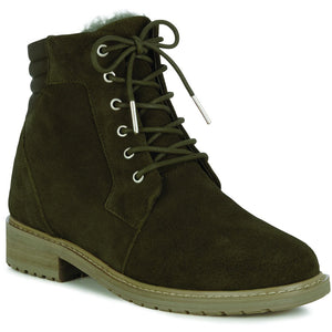 Biricet waterproof ladies sheepskin ugg fashion winter boot olive green lace up
