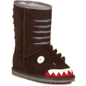 kids sheepskin ugg boot dinosaur brown with face on front