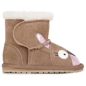 Kangaroo baby walker sheepskin boots with wool feature around top and velcro opening