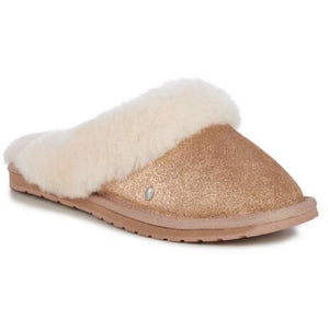 slide on sheepskin Emu Australia slipper with wool feature on top rose gold shimmer