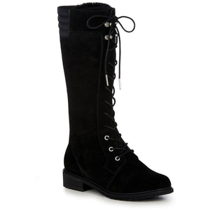 Tall lace up black waterproof sheepskin ugg boot knee high with heel