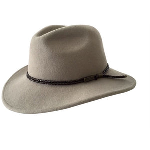 Jacaru Australia Fedora wool hat with leather band - sand colour