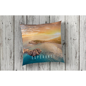beautiful home decor and decorating cushion throw pillow nautical featuring beach Twilight Cove aerial shot at sunset by photographer Gary Alan
