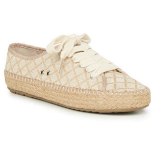 Emu Australia Agonis canvas shoe coconut with weave design and laces side view