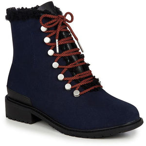 waterproof fashion wool lined ankle boot midnight blue with brown laces and metal lace hooks