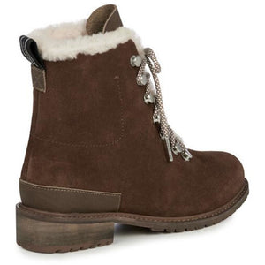 waterproof fashion wool lined ankle boot oak brown with light brown laces and metal lace hooks