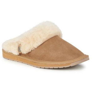 Emu Australia Platinum Eden wool lined sheepskin slide-on slippers chestnut colour
