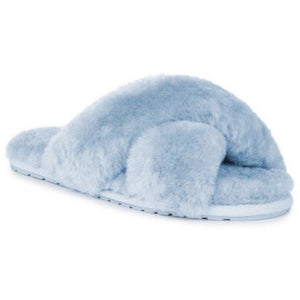 Emu Mayberry wool slippers crossover top open toe and heal, baby blue colour