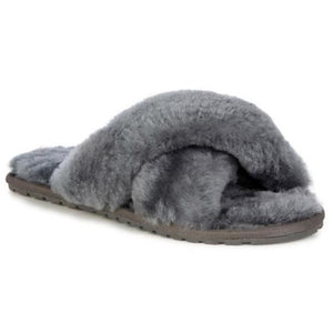 Emu Mayberry wool slippers crossover top open toe and heal, charcoal grey colour