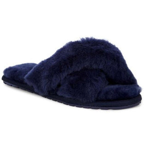 Emu Mayberry wool slippers crossover top open toe and heal, midnight blue colour