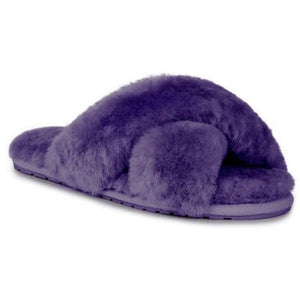 Emu Mayberry wool slippers crossover top open toe and heal, purple colour