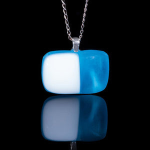 Glass aqua and white pendant necklace