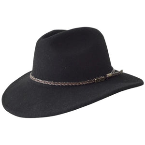 Jacaru Australia Fedora wool hat with leather band - black colour