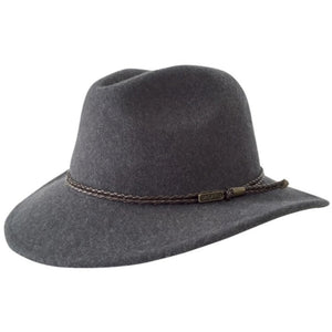 Jacaru Australia Fedora wool hat with leather band - grey colour