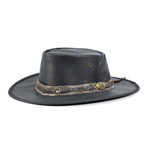 Jacaru Australia Roo Nomad Traveller Hat, kangaroo leather black with brown plaid leather band