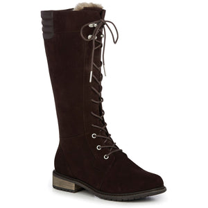 Tall lace up brown waterproof sheepskin ugg boot knee high with heel