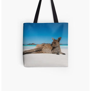 Lucky Bay kangaroo on the beach tote bag perfect for beach items or everyday shopping
