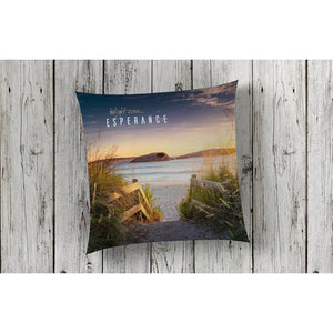 beautiful home decor and decorating cushion throw pillow nautical featuring beach Twilight Cove at sunrise by photographer Gary Alan